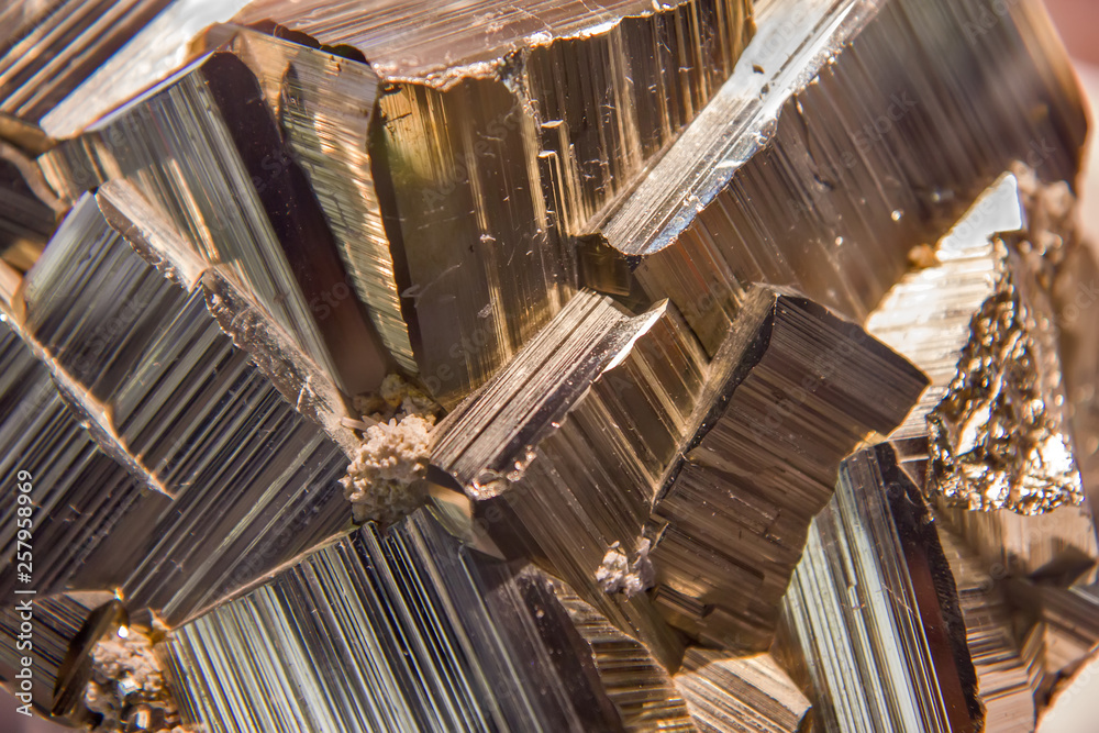 Fototapety, obrazy: Pyrite mineral closeup
