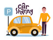 Attractive young man holding mobile phone rents a car in the parking lot online. New yellow car stands at the parking sign. Carsharing concent. Vector flat cartoon illustration with lettering.
