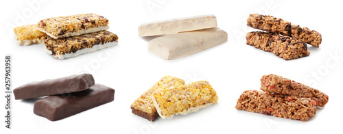 Stampa su Tela Set of different sweet protein bars on white background