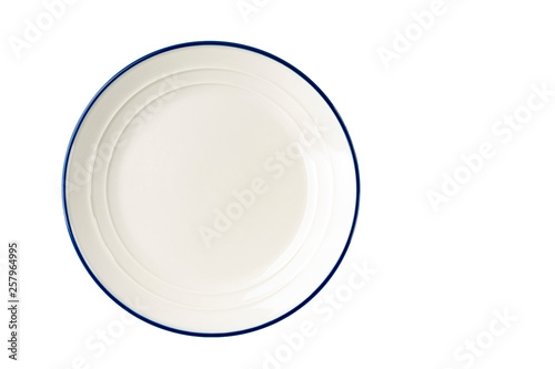 Fotografia White plate with a blue stripe on the edge.