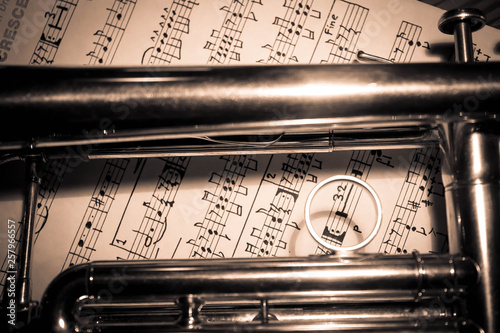 Background of a trumpet on sheet music - 257966557