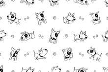 Cartoon Character Bull Terrier Dog Seamless Pattern For Design.