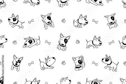 obraz lub plakat Cartoon character bull terrier dog seamless pattern for design.