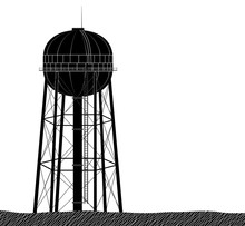 High And Large Water Tower Fro...
