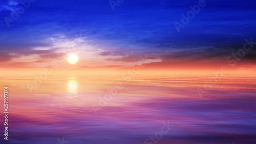 Poster Prune dreamy ocean scenery with deep majestic sky
