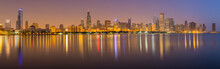 USA, Illinois, Chicago, Panoramic View At Night