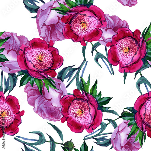 Watercolor. Seamless wallpaper. Flower peony. Flower pattern. The foundation