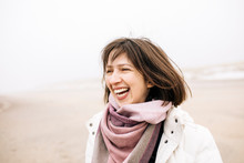 Portrait Of Laughing Woman On ...