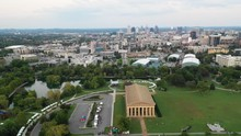 View Of Parthenon In Nashville, Panning Aerial