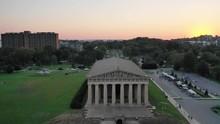 Nashville Parthenon At Sunset, Aerial