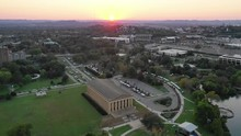 Panning Aerial, Sunset Over Nashville Parthenon
