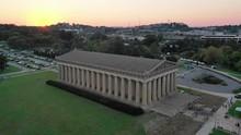 Aerial, Centennial Park Parthenon At Sunset