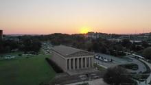 Sunset Over Parthenon In Centennial Park, Aerial