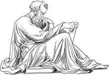 Epictetus Portrait In Line Art Illustration