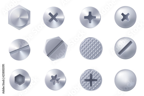 Obraz Set of metal screw heads isolated on white background. Collection of different heads of bolts, screws, nails, rivets. View from above. Decorative elements for your design. Vector eps 10. - fototapety do salonu