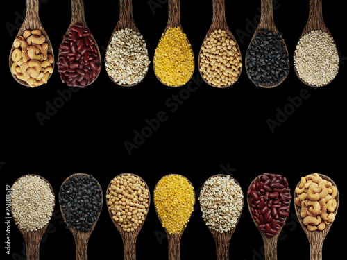 Printed kitchen splashbacks Spices Mix nuts on the spoon,barley,black bean,soy bean,mung bean,job's tears,red bean,cashew nuts