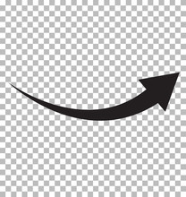Black Arrow Icon On Transparent Background. Flat Style. Arrow Logo Concept. Arrow Icon For Your Web Site Design, Logo, App, UI. Arrow Indicated The Direction Symbol. Curved Arrow Sign.