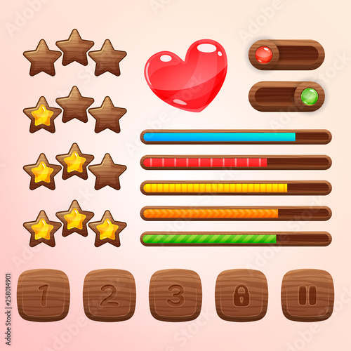 Cartoon wooden game assets, kit for game ui development