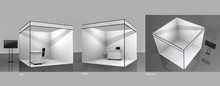 White And Blank Booth.,3d Rend...