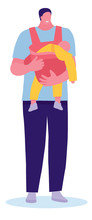 Man Holding Baby In Sling. Coloring Vector Cartoon Flat Illustration. Dad's Happiness