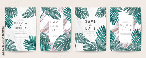 Foto  Wedding invitation cards with marble texture background,Gold geometric Shape line and Tropical Leaves design vector collection