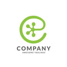 Initial  Letter E As Gecko Footprint  Reptile Animal Logo Vector