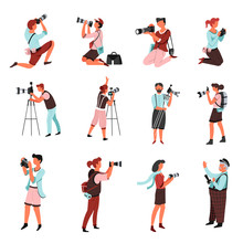 Photographers Or Men And Women With Photo Camera Isolated Characters