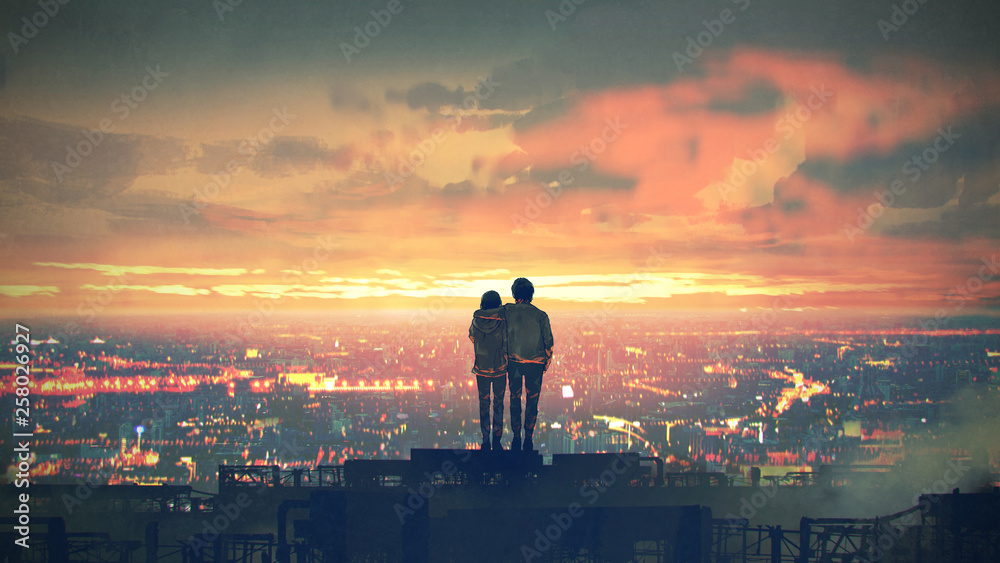 Fototapety, obrazy: young couple standing on the roof top looking at cityscape at sunset, digital art style, illustration painting