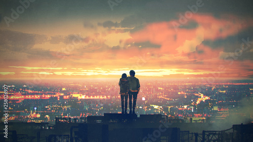 Spoed Foto op Canvas Grandfailure young couple standing on the roof top looking at cityscape at sunset, digital art style, illustration painting