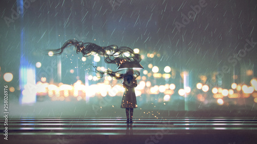 Deurstickers Grandfailure mysterious woman with umbrella at rainy night, digital art style, illustration painting