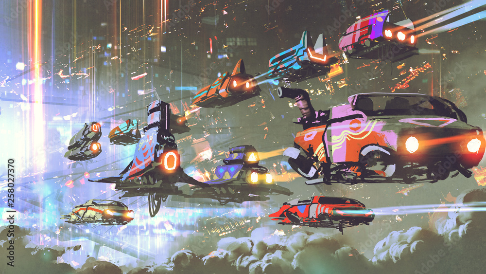 Fototapety, obrazy: flying car traffic in the futuristic world, digital art style, illustration painting