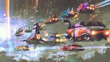 Flying Car Traffic In The Futuristic World, Digital Art Style, Illustration Painting