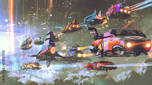 flying car traffic in the futuristic world, digital art style, illustration painting