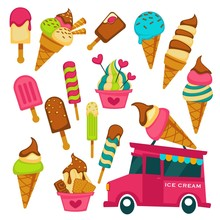 Ice Cream Truck Summer Dessert Waffle Cone And Stick