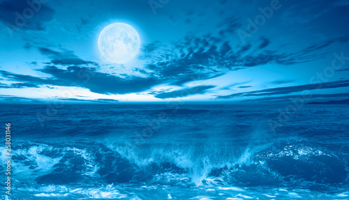 Poster Mer / Ocean Night sky with moon in the clouds with dark sea