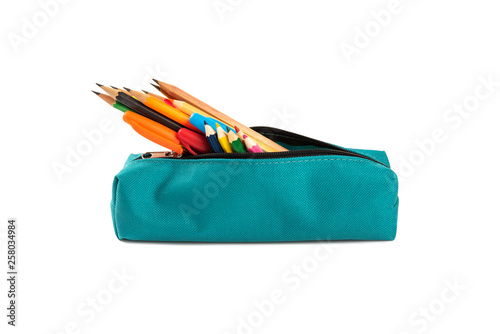 Fotomural Colorful pencil and pens in a case isolated on white
