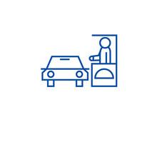 Drive Thru Restaurant Line Concept Icon. Drive Thru Restaurant Flat  Vector Website Sign, Outline Symbol, Illustration.