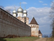Fortress Wall With Towers, Church Of St. Sergius Of Radonezh, South Gate, Boris And Gleb Monastery, Borisoglebsk, Rostov District, Yaroslavl Region, Russia
