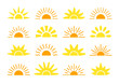 Sunrise & sunset symbol collection. Flat vector icons. Morning sunlight signs. Isolated objects. Yellow sun rise over horison