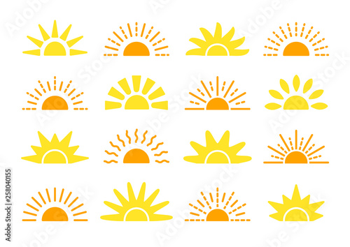 Fototapeta Sunrise & sunset symbol collection. Flat vector icons. Morning sunlight signs. Isolated objects. Yellow sun rise over horison obraz