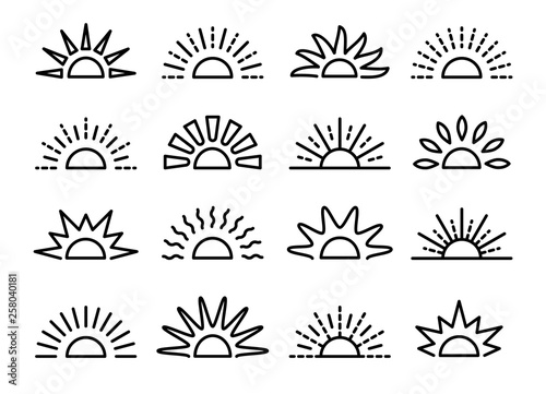 Cuadros en Lienzo Sunrise & sunset symbol collection
