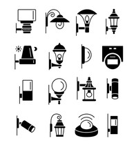 Porch & Patio Lights. Security Devices. Outdoor Wall Lighting. Vector Flat Icon Set. Isolated Objects