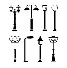 Street Lights. Outdoor Park & Garden Lighting.  Vector Flat Icon Set. Isolated Objects