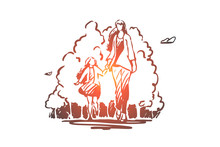Mother, Daughter, Walking, Park Concept. Hand Drawn Isolated Vector.