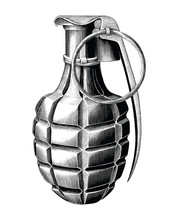 Grenade Hand Draw Vintage Style Black And White Clip Art Isolated On White Background
