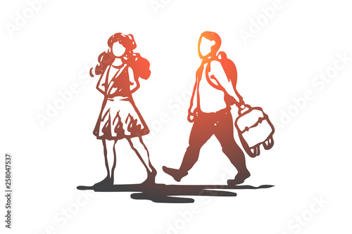 Valokuva Kid, good, manners, girl, boy, bag concept