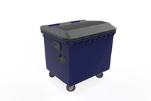 Close Plastic Garbage Container On White Background. 3d Illustration