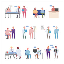 Doctors' Various Hospital Work And Medical Practice. Flat Design Style Minimal Vector Illustration