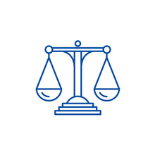 Scales Of Justice Line Concept Icon. Scales Of Justice Flat  Vector Website Sign, Outline Symbol, Illustration.