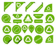 Conscious Consumption. Recycling Things. Set Of Stickers